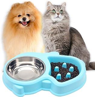ペット食器 猫 えさ 皿 犬の餌 ペット用品 犬猫用フードボウル ペット用 早食い防止食器 さえ 皿 過剰給餌防止 肥満解消 (ブルー)
