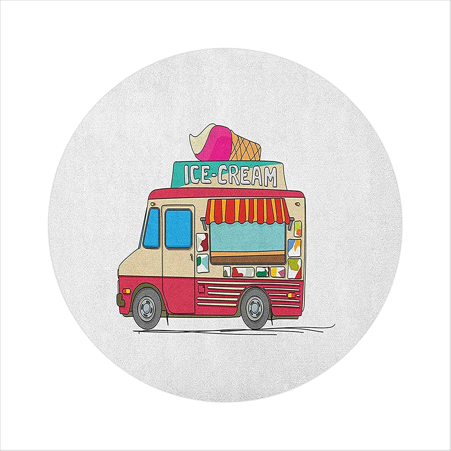 Hard Floor Chair Department store Mat Ice Illustration Truck Special price for a limited time Cream Colorful Busi
