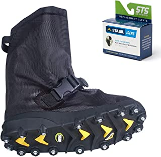Voyager Overshoe with Traction Cleats for Ice & Snow, Fits Over Shoes/Boots, Made in USA, 25 Replacement Cleats Included