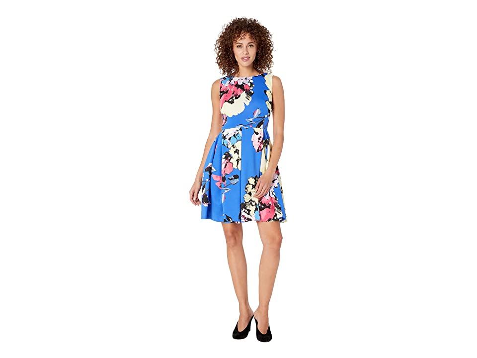 Taylor Sleeveless Floral Print Fit and Flare Dress (Blue/Peony) Women