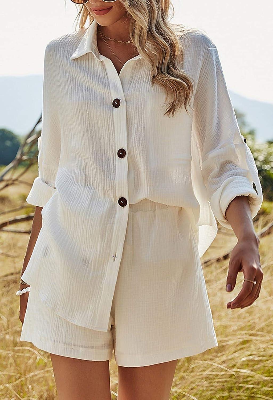 Fixmatti Women 2 Piece Outfit Linen Short Set V Neck Short Sleeve Top and Shorts Sweatsuit
