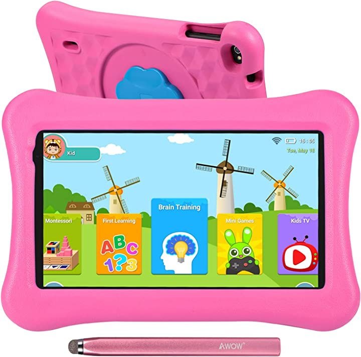 Tablet per bambini 10.1 pollici 2gb ram 32gb rom android 10 proof custodia penna tattile wifi bluetooth awow B091CB32T1
