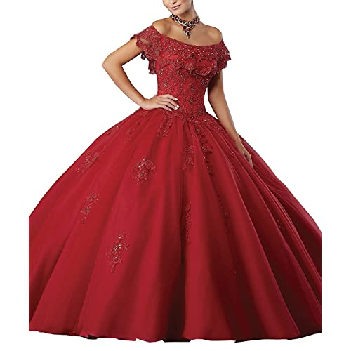 Meledy Womens Girls Ball Gown Beads Quinceanera Dress Lace Prom Gowns ...