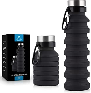 Zulay Portable Water Bottle Collapsible and Foldable Design - Food-Grade Silicone Collapsible Water Container, FDA Approved and BPA Free - Leak Proof Collapsable Water Bottle with Carabiner (18oz)