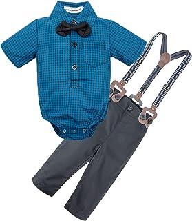 BIG ELEPHANT Baby Boys' 2 Pieces Short Sleeve Gentleman Suspender Pants Set with Bowtie U07