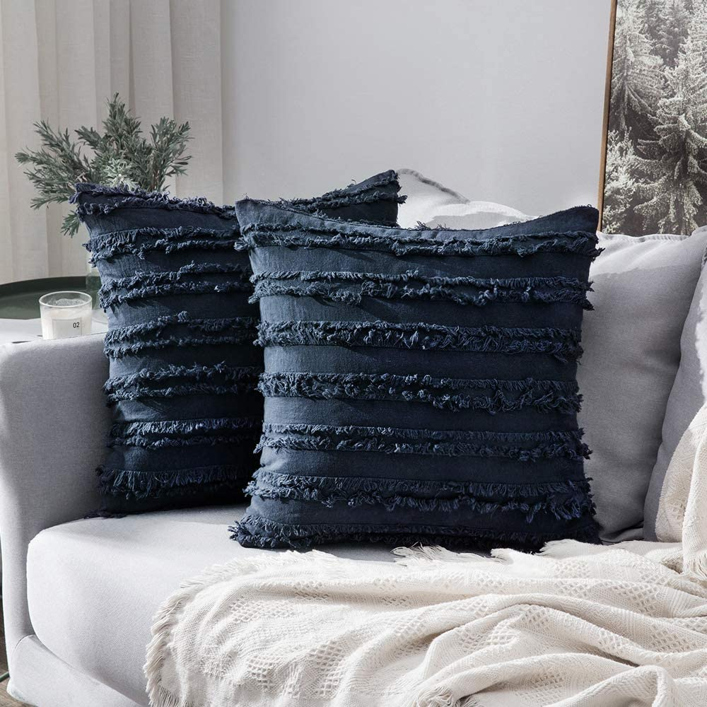 MIULEE Set of 2 Decorative Boho Throw Pillow Covers Linen Striped Jacquard Pattern Cushion Covers for Sofa Couch Living Room Bedroom 18x18 Inch Navy Blue