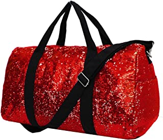 red sequin duffle bag