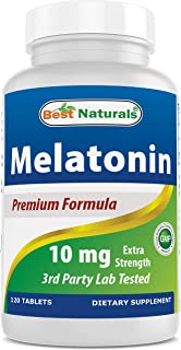 Best Naturals Melatonin 10mg (Non-GMO) Tablets - Helps Promote Relaxation & Sleep - 120 Count