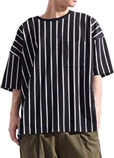 バレッタ Valletta ストライプ柄 ビッグ Tシャツ カットソー 半袖 ストレッチ クルーネック カジュアル ワイド 春 夏 メンズ