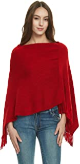 Women's Soft Knit Poncho Sweater, Elegant Fringe Cape Shawl in Multi-Way Neck Style