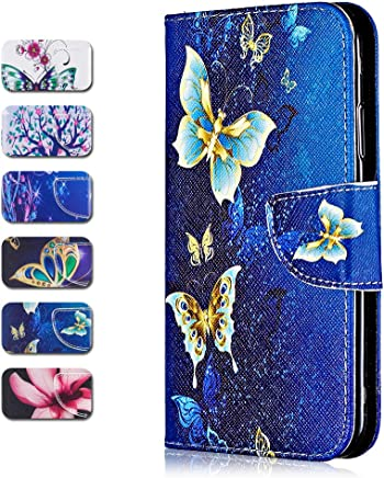 CAXPRO Huawei P20 Lite Case  Premium Leather Protective Cover Wallet Case for Huawei P20 Lite with Credit Card Slot  Magnetic Closure Butterfly
