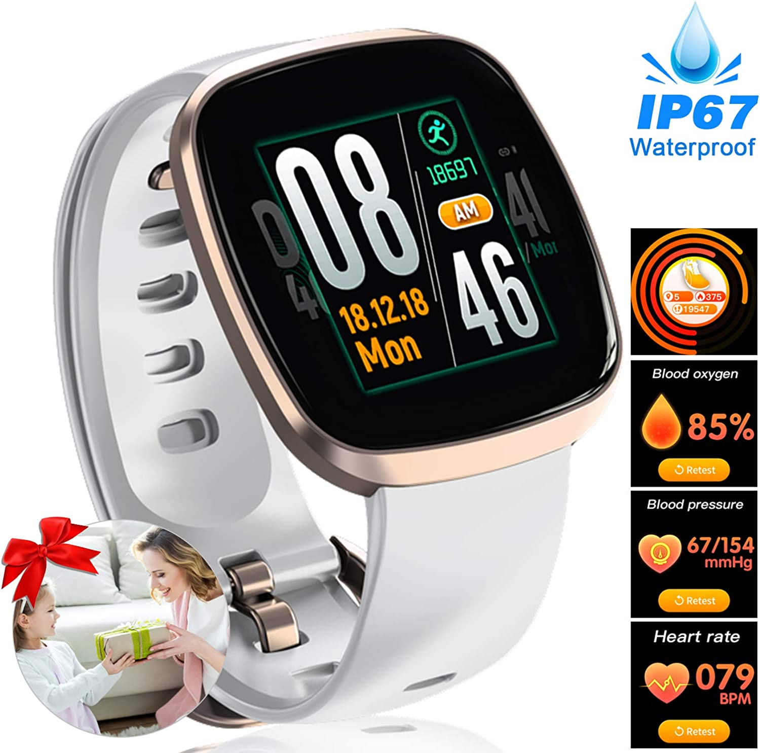Women Fitness Tracker  Full Touch Screen Smart Sport Business Watches, Heart Rate Blood Pressure Blood Oxygen Sleep Monitor Watch, GPS Pedometer Activity Tracker Watch for Birthday Anniversary Gifts