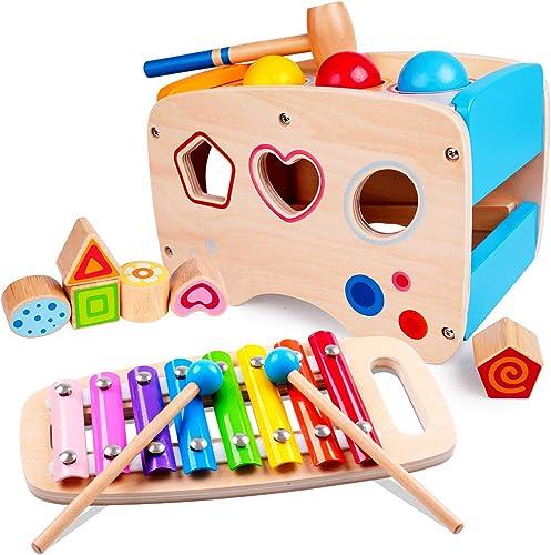 Rolimate Jouet en Bois Éducatif avec Jouet à Marteler 8 Notes Xylophone en Bois Cube de Tri de Formes Coloré Cadeau d...