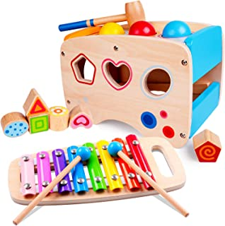rolimate Hammering Pounding Toys Wooden Educational Toy Xylophone Shape Sorter, Birthday Gift for 1 2 3+ Years Boy Girl Ba...