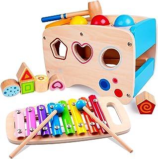 Rolimate Jouet en Bois Éducatif avec Jouet à Marteler 8 Notes Xylophone en Bois Cube de Tri de Formes Coloré Cadeau d'Anni...