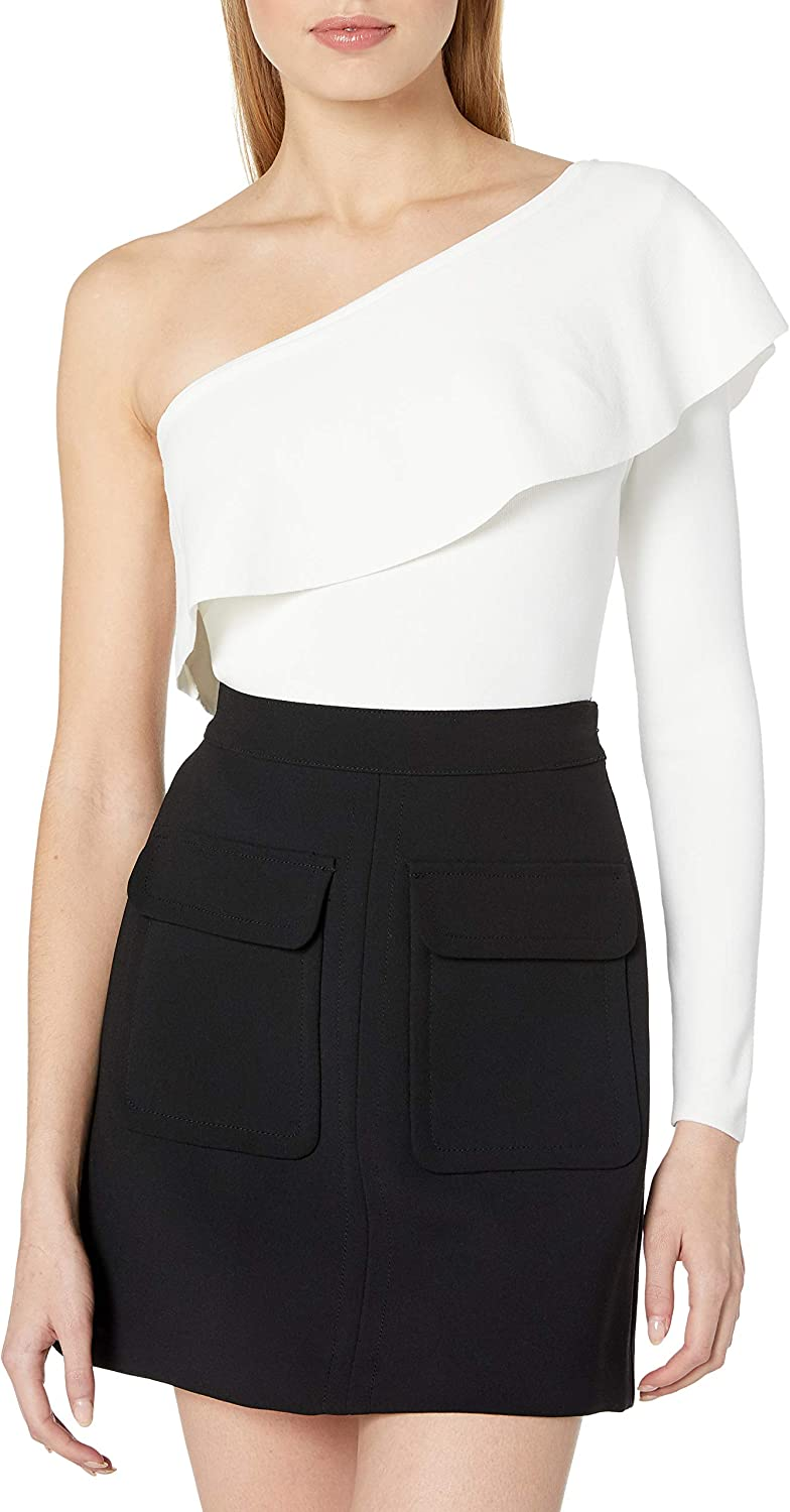 MILLY Max 60% OFF Women's One Shoulder Large special price Flounce Top