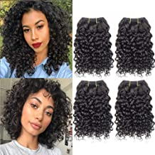 Selina Brazilian Curly Hair Bundles 4 Bundles Kinky Curly Short Human Hair Brazilian Virgin Human Hair 50 Gram/Bundle (8