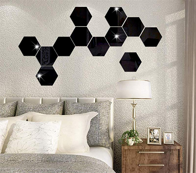 Hexagon Mirror Wall Stickers Removable Mirror Plastic Mirror Tiles Art DIY Home Decorative Hexagonal Acrylic Mirror Sheet For Home Living Room Bedroom Sofa TV Background Wall Decal 12PCS Black