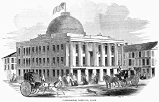 Posterazzi Poster Print Collection Custom House At Portland, Maine. Wood Engraving, American, 1853, (24 x 36), Varies