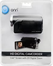 ONN HD Camcorder Video Camera With 1.44-inch Screen, 2X Digital Zoom, 720p HD (Up To 1280 x 720 Resolution). Includes Video Editing Software. Records Video To SD Memory. Model ONA17CA010.