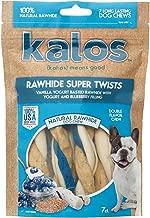Kalos 1 Pouch Vanilla Yogurt & Blueberry Rawhide Twists Double Chew (7 Pack), Small