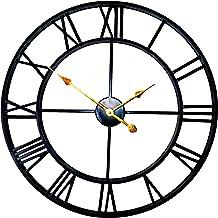 ساعة حائط كبيرة لديكور المنزل لغرفة المعيشة لا تكتكة ساعات الفن الحديدي أرقام رومانية ، معدن قديم معتق ، حجم كبير 60cm اسود