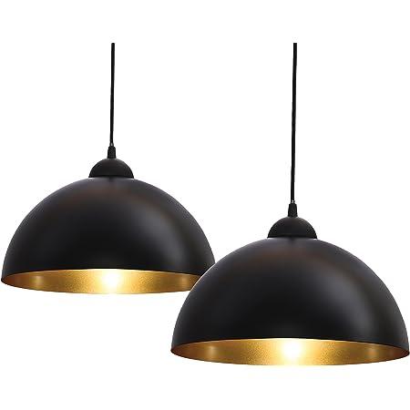 B.K.Licht lot de 2 suspensions vintage, 2 luminaires style industriel, plafonnier vintage lot de 2, éclairage intérieur, lampe cuisine salon salle à manger chambre, noir, 230V, IP20, Ø 300mm