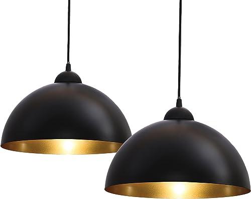 B.K.Licht lot de 2 suspensions vintage, 2 luminaires style industriel, plafonnier vintage lot de 2, éclairage intérie...