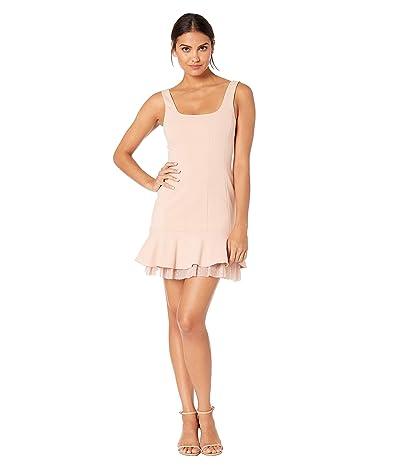 BCBGMAXAZRIA Scoop Neck Flounce Cocktail Dress (Bare Pink) Women