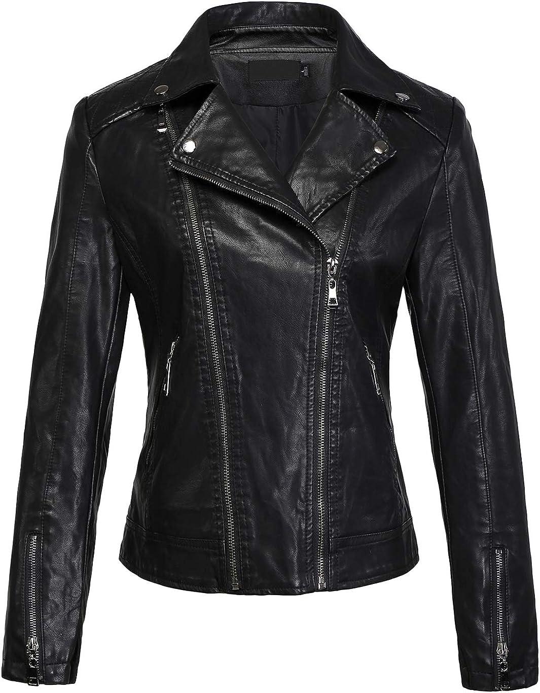 chouyatou Women's Cool Stylish Lapel Asymmetric Zip Slim Faux Leather Biker Jacket