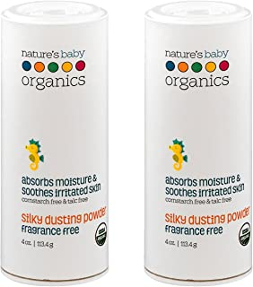 Nature's Baby Organic Silky Dusting Powder With Organic Aloe, Chamomile and Echinacea, Fragrance Free, 4 oz. (113.4 g) (Pa...