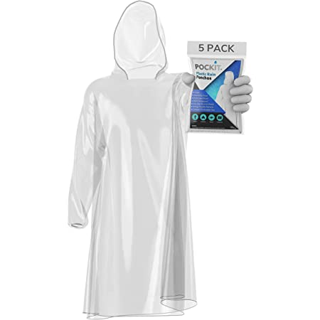 Pockit Ponchos 5 Pack, Waterproof Disposable Rain Poncho for Adults, Emergency Raincoats with Drawstring Hood & Elasticated Wrists, Rain Coats for PPE Protection