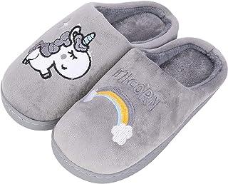 HommyFine Hiver Pantoufles en Coton Peluche Chaussons Maison Anti-dérapant Chaud Slippers Chaussures avec Bande élastique ...
