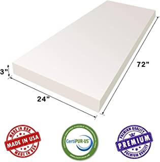 """AK TRADING CO. 3"""" H X 24"""" W x 72""""L Upholstery Foam Cushion CertiPUR-US Certified. (Seat Replacement, Upholstery Sheet, Foam Padding)"""