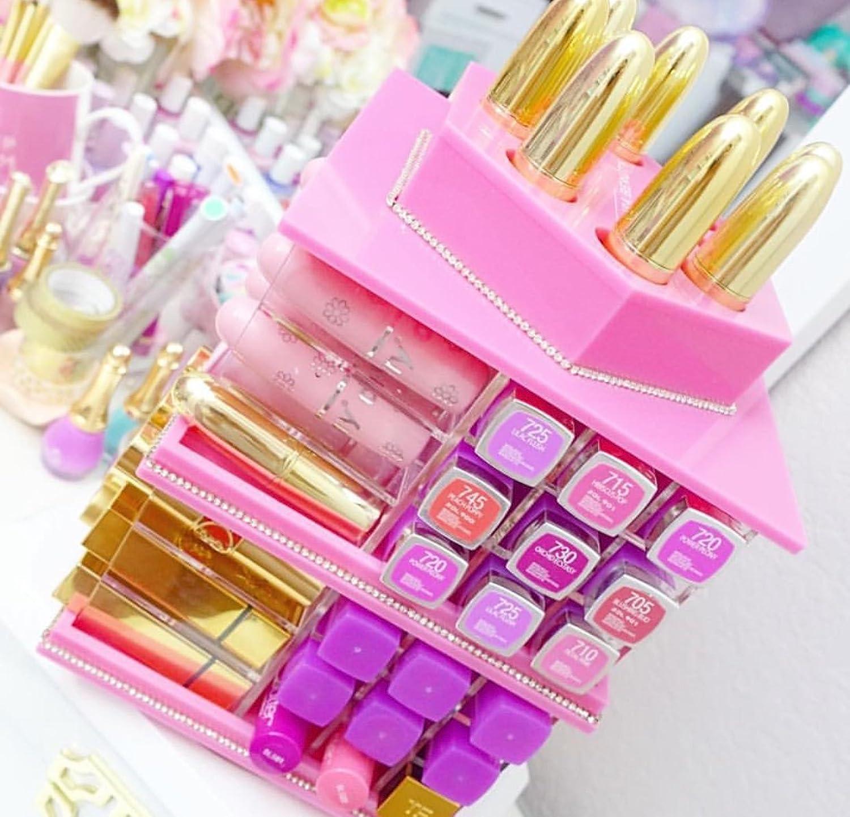 Zahra Beauty Spinning Lipstick Tower - Adorable Pink - The Best Lipstick Holder- Holds 81 Lipsticks