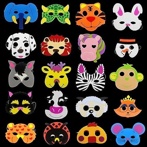 12 Card Farm Animal Face Masks Colourful Childrens Masks Party Bag Fillers