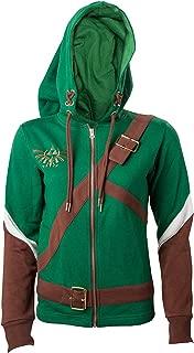 The Legend of Zelda Hoodie Link Cosplay Design Official Womens Green Zipped