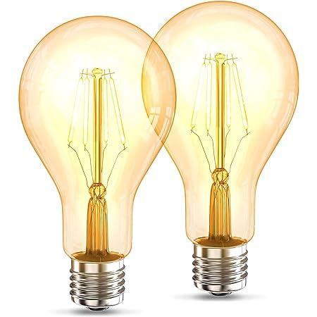 B.K.Licht Lot de 2 ampoules LED Edison Vintage A75 I E27, 4W, blanc chaud 2200K, intensité lumineuse 320lm, ampoule rétro à filament