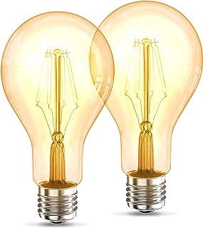 B.K.Licht 2er Set A75 Edison Vintage Bulb I E27 4W 2200K 320lm I Blanco cálido I Bombilla LED I Bombilla retro I Filamento