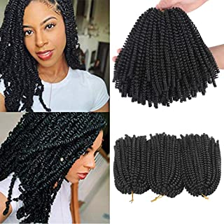 Xtrend 3 Packs Spring Twist Hair Bomb Twist Braiding Hair Passion Twist Hair Crochet Braids Fluffy Twist Hair Extensions 8 Inch 1B