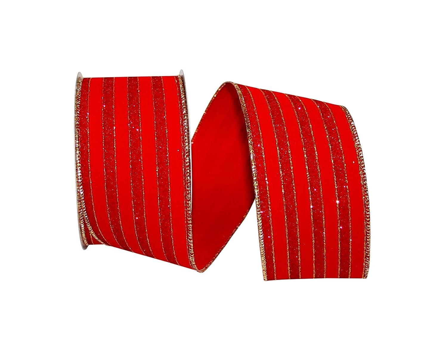 Reliant Ribbon 92892W-065-40F Glitter Stripe Velvet Wired Edge Ribbon, 2-1/2 Inch X 10 Yards, Red