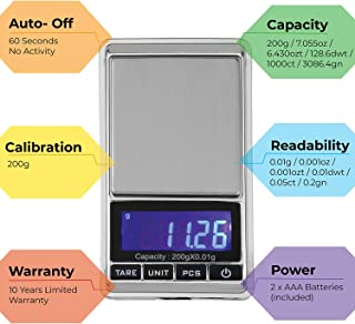 American Weigh Scale HP Series Precision Digital Pocket Weight Scale, Chrome 200g x 0.01G (CHROME-201)