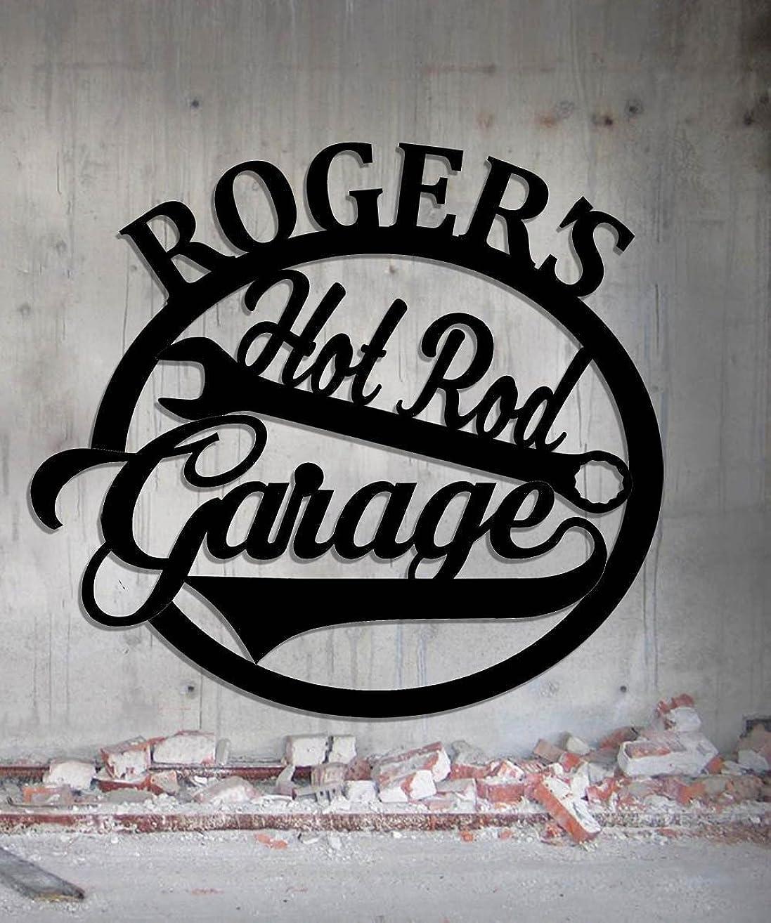Hot Rod Garage - Personalized Workshop Sign - Metal Wall Art- Customize It!- Metal Wall Art Man Cave Grandpa's Dad's Or Custom Name