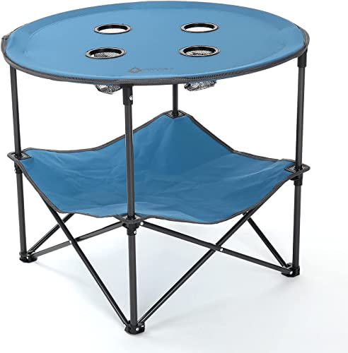 high quality ARROWHEAD OUTDOOR Heavy-Duty Portable lowest Folding Table, 4 Cup Holders, No Sag Surface, Compact, Round, high quality Carrying Case, Steel Frame, High-Grade 600D Canvas, Lower Storage Area, USA-Based Support outlet online sale