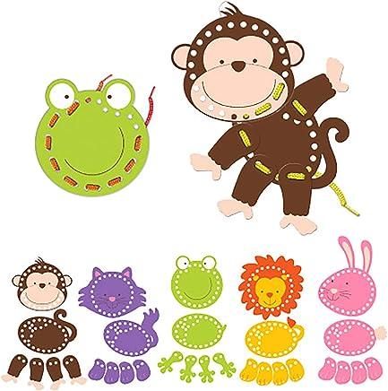 Fiesta Crafts T-2730 Animals Threading Toy