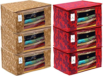 Kuber Industries Metalic Printed 6 Piece Non Woven Fabric Saree Cover Set with Transparent Window, Extra Large, Beige & Red -CTKTC040862