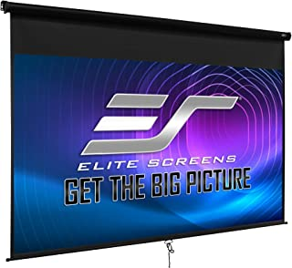 Elite Screens Manual B 135-INCH Manual Pull Down Projector Screen Diagonal 16:9 Diag 4K 8K 3D Ultra HDR HD Ready Home Theater Movie Theatre Black Projection Screen with Slow Retract Mechanism