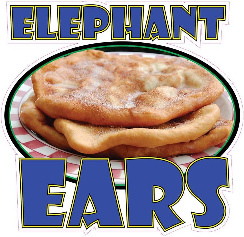 Food Truck Decals Elephant Ears Concession Restaurant Die-Cut Vinyl N87 & Sign 14 in on Longest Side