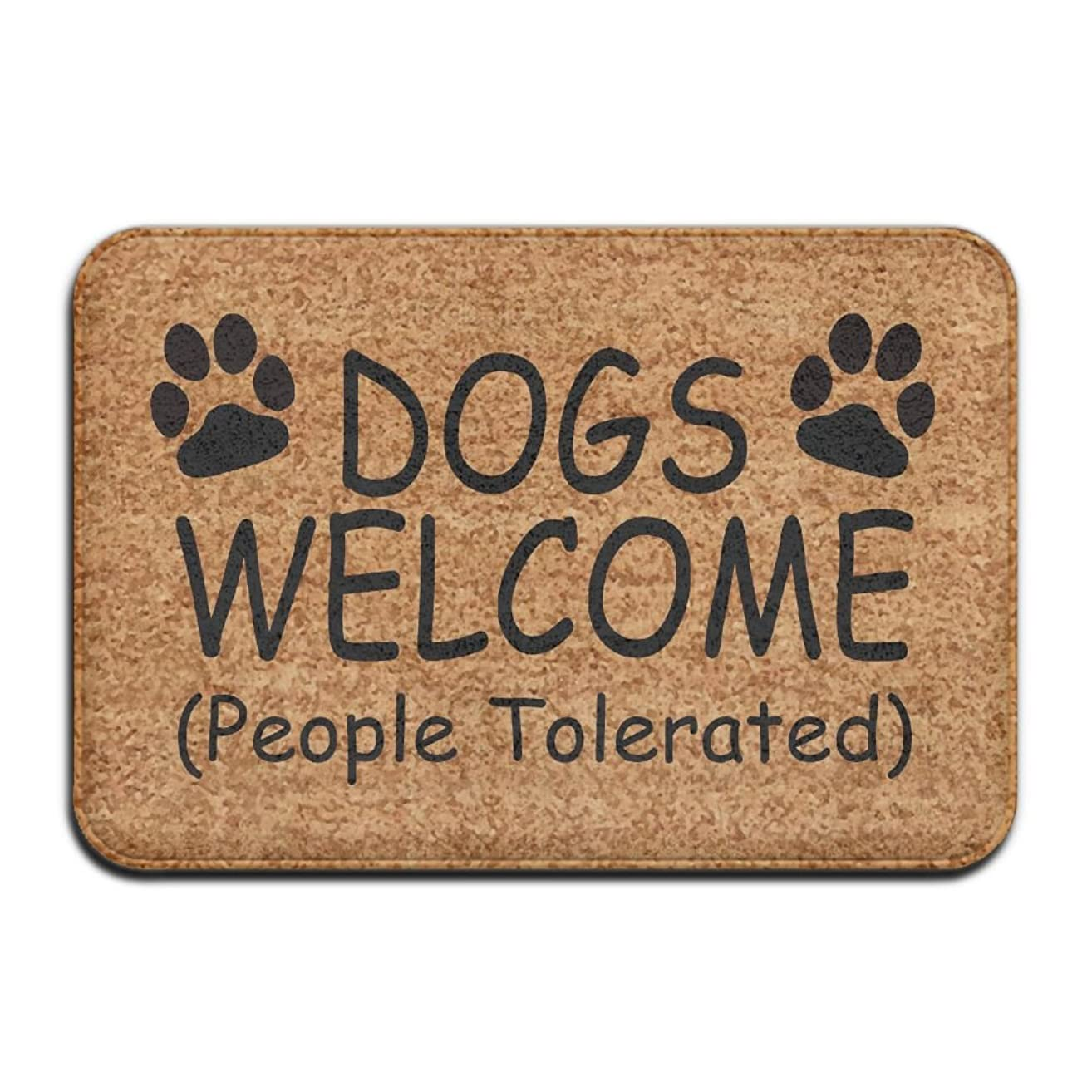 Dogs Cats Welcome (People Tolerated) Vintage 15.7 X 23.6 In Absorbent Non Slip Floor Rug Coral Carpet