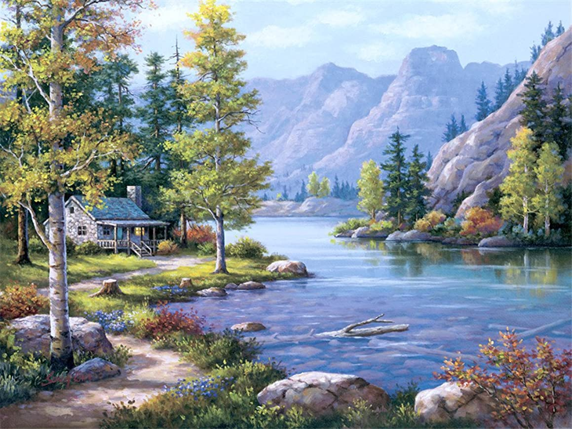 DIY oil Painting by Numbers kit 16x20 for Adults Beginner Children, CaptainCrafts New Creative DIY digital oil painting Kids LINEN Canvas - Landscape, Forest Country River Mountain View (With Frame)
